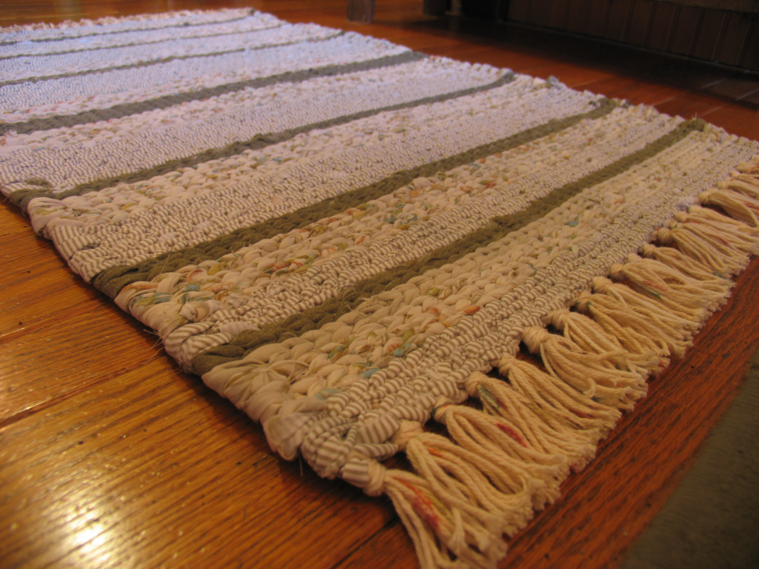 Hand Twined Rag Rug With Hand Tied Fringe In Creams
